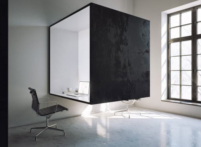 Le bureau cube dans une grande pièce