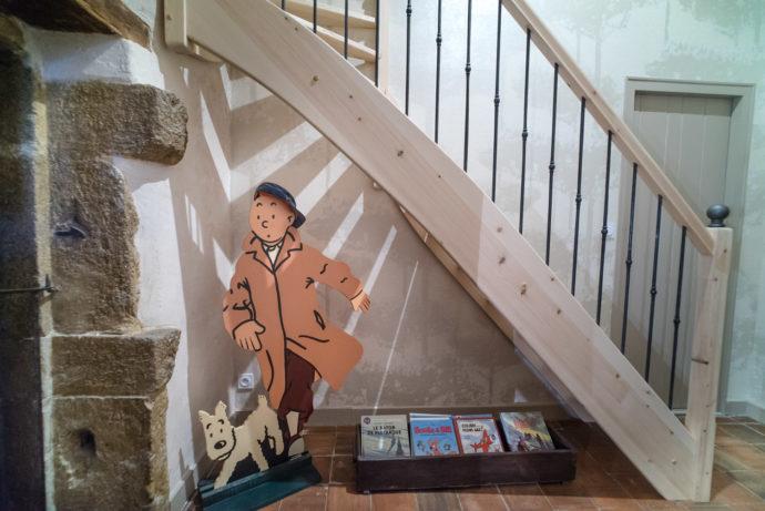 L'accueil de Tintin et Milou dès le palier