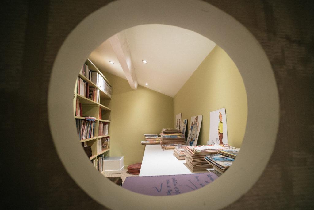 Vue du bureau par l'oculus