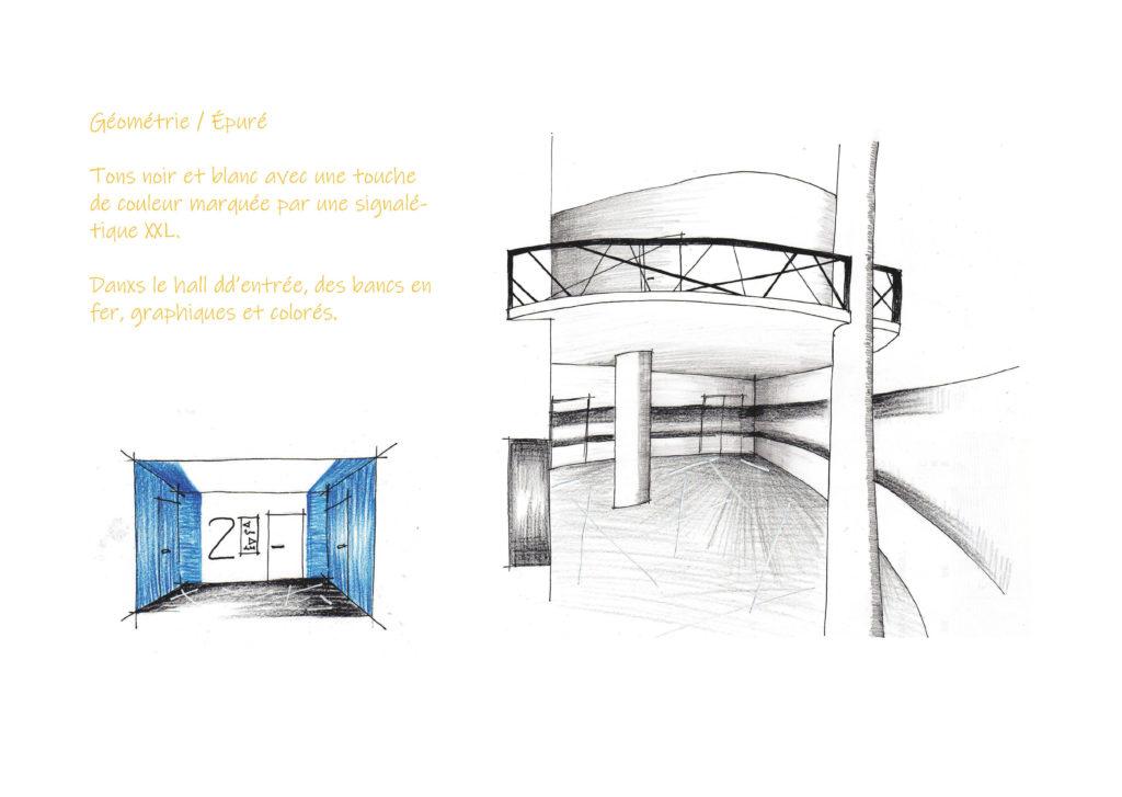 Proposition d'ambiance graphique pour le hall d'entrée