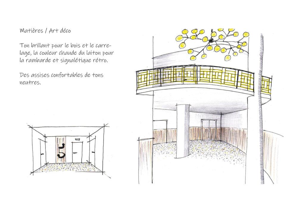 Proposition d'aménagement pour le thème classique chic dans le hall d'entrée