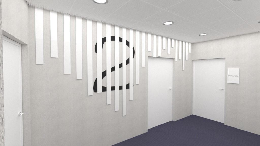 Proposition futuriste du palier des étages supérieurs