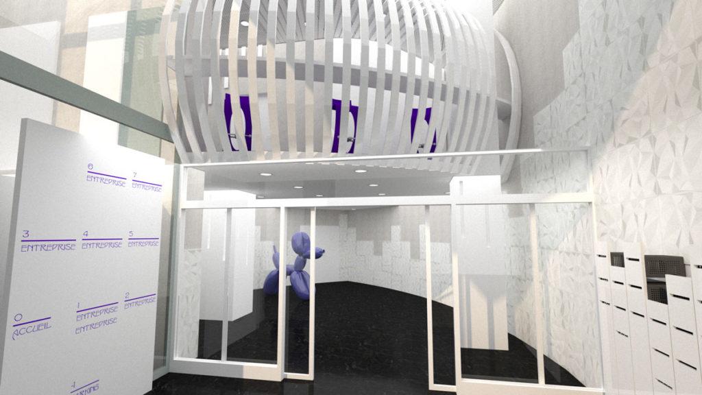 Proposition Futuriste du hall d'entrée de l'immeuble
